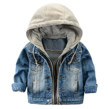 2018 Children's Jacket Denim Boys Hooded Jean Jackets Girls Kids clothing baby coat Casual outerwear New Brand factory