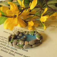 Fairy Garden Miniature Pond for Terrarium or Tiny Size Sprite or Garden - Polymer Clay