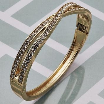 Gold Tone Women Individual Bangle, with White Crystal, Size 5 - 2.50 Diameter by Folks Jewelry