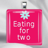 ON SALE.  Pregnancy eating for two digital art pendant necklace