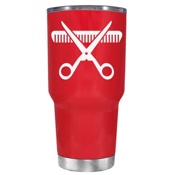 HairStylist Scissor and Comb Silhouette on Red 30 oz Tumbler Cup