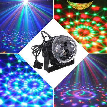 Mini RGB LED Party Disco Club DJ Light Crystal Magic Ball Effect Stage Lighting (Color: Black) = 1932352004