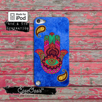Hamsa Hand Indian Tribal Blue Watercolor Hamsah Case iPod Touch 4th Generation or iPod Touch 5th Generation or iPod Touch 6th Gen Rubber