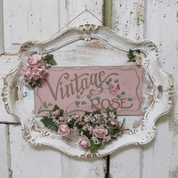 Ornate platter hand painted sign wall hanging shabby cottage chic 'Vintage Rose' roses and millinery flowers home decor anita spero design