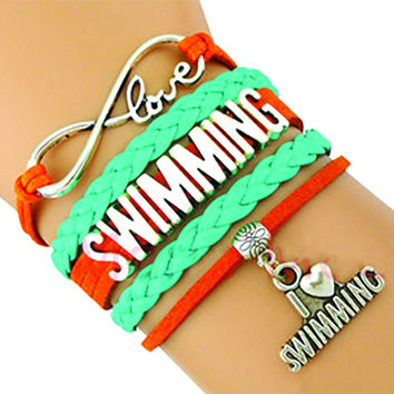 Love Swimming Bracelet - Teal/Orange