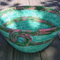 Coiled Fabric Bowl, Fabric Basket, Medium Batik Bowl