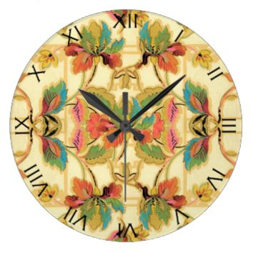Vintage Tropical Floral Wallpaper Pattern Numbers Wall Clocks
