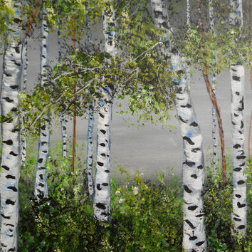 Colorado Aspens, art on canvas, aspen trees, neutral colors, birch trees, original art, Gilcee reproduction, grey, blue, white, black, green