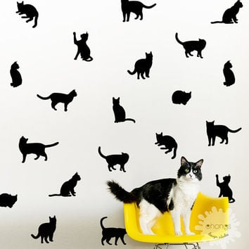 Cat wall decal / Kitty Wall Decal  / 36 Cats Sticker / Kids Room Decal / Home Decor