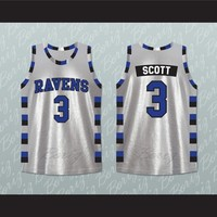 Lucas Scott 3 One Tree Hill Ravens Silver Basketball Jersey All Sewn -