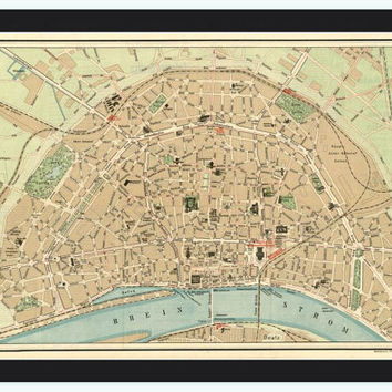 Old Map of Koln Cologne, Germany 1910