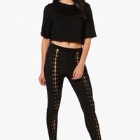 Daisy Lace Up Trousers & Boxy Crop Co-Ord Set | Boohoo
