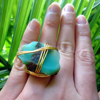 Raw chrysoprase gold ring - raw stone ring - size 6   - wrapped ring - natural stone ring - cocktail ring - chunky ring