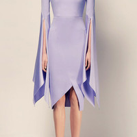 The Cara Satin Crepe Long Sleeve Split Lady Dress | Moda Operandi
