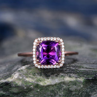Cushion Amethyst Engagement Ring Solid 14K Rose Gold Halo Diamond Ring Art Deco Antique Promise Ring For Her