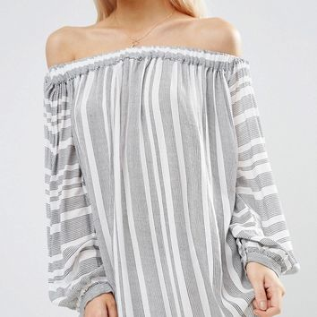 ASOS PETITE Stripe Off Shoulder Beach Dress at asos.com