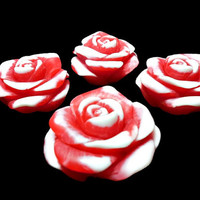 10 Rose Soap Favors, White and Pink,, Apple Berry Fragrance, Guest Soaps