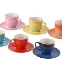 Set of 6 Colorful Ceramic Tea Cups with Saucers, Faded Spray Design, 6oz Capacity