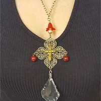 Filigree Bronze Chandelier Baroque Crystal Cross Necklace
