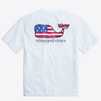 Vineyard Vines Short Sleeve Flag Whale Graphic Tee- White Cap