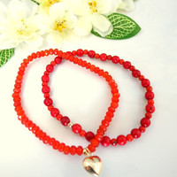 Carnelian and coral double heart gold bracelet