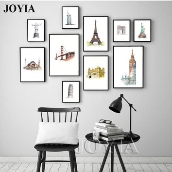 Watercolor Canvas Wall Art World Landmarks Building Canvas Prints City Landscape Pictures For Home Room Wall Decor No Frame