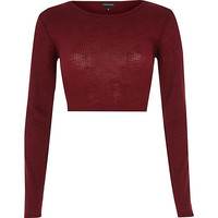 River Island Womens Dark red long sleeve crop top