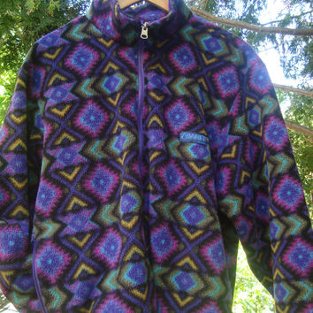 Rad Banff 90s Fleece Pullover Aztec Pattern Purple Aqua Polartec Vintage Fleece Jacket 90's Fleece from Fleece 'n Stuff