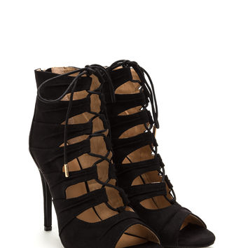 Laced 2 Perfection Faux Suede Heels