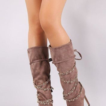 Suede Peep Toe Chain Wrap Stiletto Mid Calf Boots