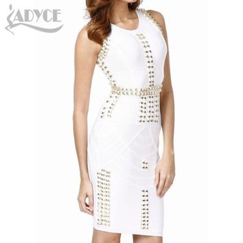 New white black sleeveless beading sequined sexy bodycon celebrity party prom pencil women thick rayon bandage Dress