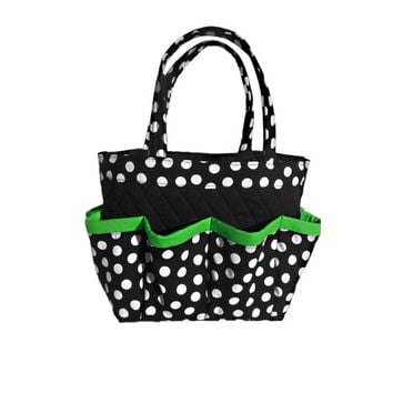 Polka Dot Black White Green Trim Bingo Bag // Craft Organizer // Makeup Organizer // Caddy // Teacher Tote // Nurse Tote