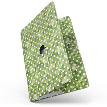 White Polka Dots over Green Watercolor - MacBook Pro without Touch Bar Skin Kit