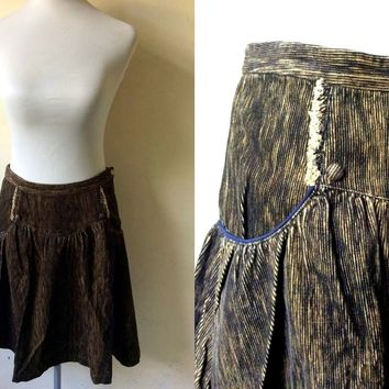 Autumn / Fall Sale: brown fine corduroy skirt (28 inches)