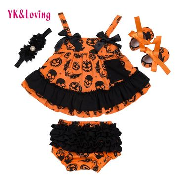Halloween Summer Style Baby Swing Top Baby Girls Clothing Set Infant Ruffle Outfits Bloomer Headband Newborn Girl Clothes Sets