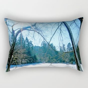 MM - Sun over a snowy pond Rectangular Pillow by Pirmin Nohr