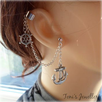 Nautical Ear Cuff - Earring Stud, Silver Plated - No Upper Ear Piercing Required
