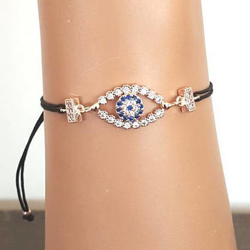 Evil eye jewelry, rose gold jewelry, evil eye bracelet, zircon jewelry, christmas gift, turkish jewelry, best friend gift