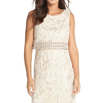 Petite Women's Eliza J Applique Popover Dress,
