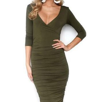 Zara Long Bodycon Dress - Green