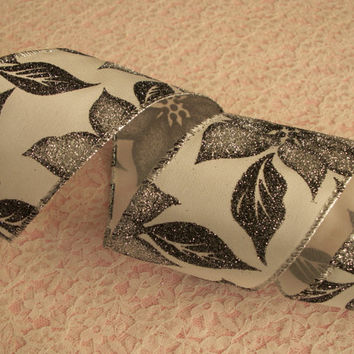 "Christmas Ribbon, Silver Gray Poinsettia Ribbon, Wired, 2 1/2"" Wide, Baskets, Bows, Wreaths, Holiday Home Decor, Ribbon Decorations, 4 YARDS"