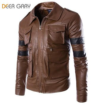 Men Brand Fashion England Style Leather Jacket Men Zipper Motorcycle Jacket Coat