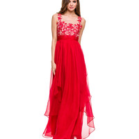 Red Illusion Bodice Chiffon Gown 2015 Prom Dresses