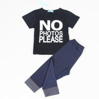 Fashion Style Baby Sets Black Letter T-shirt+Imitation cowboy pants 2pcs