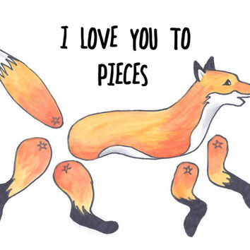 Fox Valentine's Day card with paper toy interactive gift 4 x 5.5