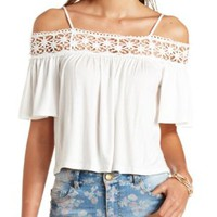 Crochet-Trimmed Cold Shoulder Top by Charlotte Russe - Ivory