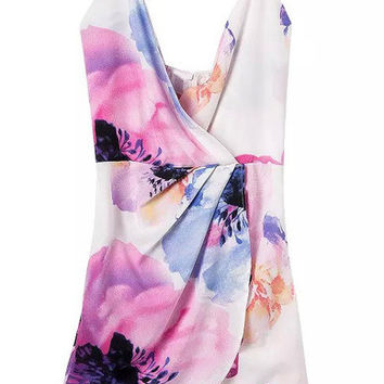 Floral Dress Spring - Multicolour Bleached Dyed Spaghetti Strap Floral Bodycon Dress
