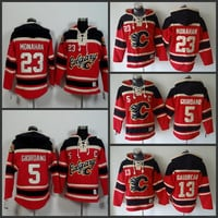 Cheap Mens Calgary Flames Hoodies 5 Mark Giordano 13 Johnny Gaudreau 23 Sean Monahan Sweatshirts Stitched Authentic Old Time Hockey Hoodies