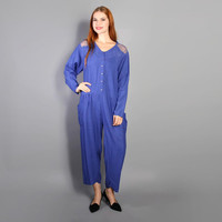 80s EMBROIDERED Cutwork MESH JUMPSUIT / Oversized Blue Draped Romper
