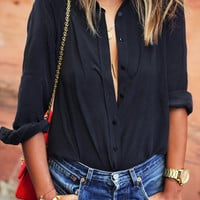Black Lapel Long Sleeve Buttons Blouse -SheIn(Sheinside)